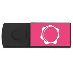 Circle White Pink USB Flash Drive Rectangular (1 GB)