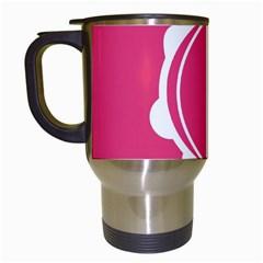 Circle White Pink Travel Mugs (white)