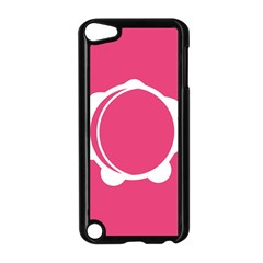 Circle White Pink Apple iPod Touch 5 Case (Black)