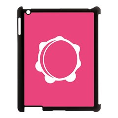 Circle White Pink Apple iPad 3/4 Case (Black)