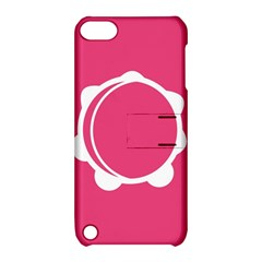 Circle White Pink Apple iPod Touch 5 Hardshell Case with Stand