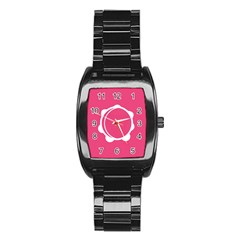Circle White Pink Stainless Steel Barrel Watch