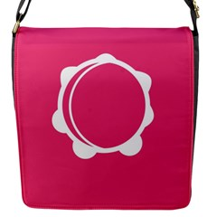 Circle White Pink Flap Messenger Bag (S)