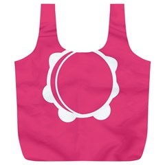 Circle White Pink Full Print Recycle Bags (L)