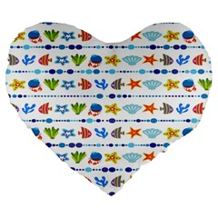 Coral Reef Fish Coral Star Large 19  Premium Flano Heart Shape Cushions