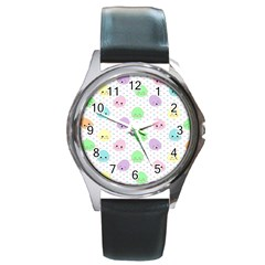 Egg Easter Smile Face Cute Babby Kids Dot Polka Rainbow Round Metal Watch