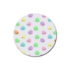 Egg Easter Smile Face Cute Babby Kids Dot Polka Rainbow Rubber Round Coaster (4 pack)