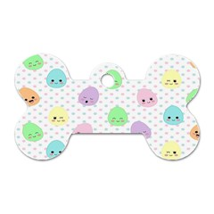 Egg Easter Smile Face Cute Babby Kids Dot Polka Rainbow Dog Tag Bone (One Side)