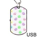 Egg Easter Smile Face Cute Babby Kids Dot Polka Rainbow Dog Tag USB Flash (One Side) Front