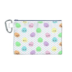 Egg Easter Smile Face Cute Babby Kids Dot Polka Rainbow Canvas Cosmetic Bag (M)