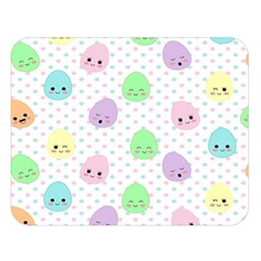 Egg Easter Smile Face Cute Babby Kids Dot Polka Rainbow Double Sided Flano Blanket (Large)