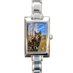 Adult Wild Cat Sitting and Watching Rectangle Italian Charm Watch