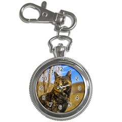 Adult Wild Cat Sitting and Watching Key Chain Watches