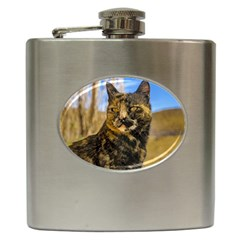 Adult Wild Cat Sitting and Watching Hip Flask (6 oz)