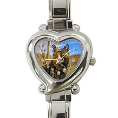 Adult Wild Cat Sitting and Watching Heart Italian Charm Watch