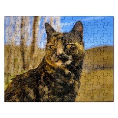 Adult Wild Cat Sitting and Watching Rectangular Jigsaw Puzzl