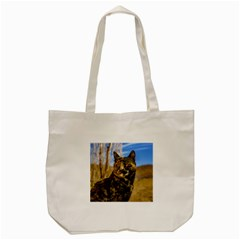 Adult Wild Cat Sitting and Watching Tote Bag (Cream)
