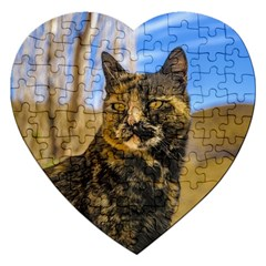 Adult Wild Cat Sitting and Watching Jigsaw Puzzle (Heart)