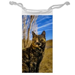 Adult Wild Cat Sitting and Watching Jewelry Bag