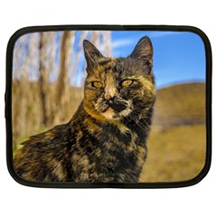 Adult Wild Cat Sitting and Watching Netbook Case (Large)
