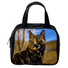 Adult Wild Cat Sitting and Watching Classic Handbags (One Side)
