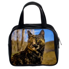 Adult Wild Cat Sitting and Watching Classic Handbags (2 Sides)