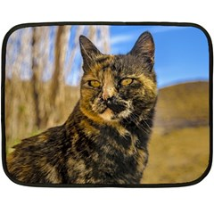Adult Wild Cat Sitting and Watching Double Sided Fleece Blanket (Mini)