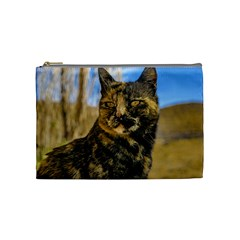 Adult Wild Cat Sitting and Watching Cosmetic Bag (Medium)
