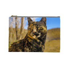 Adult Wild Cat Sitting and Watching Cosmetic Bag (Large)