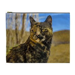 Adult Wild Cat Sitting and Watching Cosmetic Bag (XL)