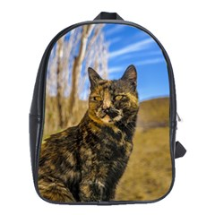Adult Wild Cat Sitting and Watching School Bags(Large)