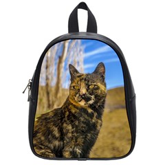 Adult Wild Cat Sitting and Watching School Bags (Small)