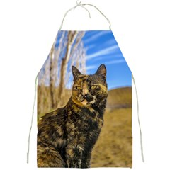 Adult Wild Cat Sitting and Watching Full Print Aprons