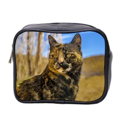 Adult Wild Cat Sitting and Watching Mini Toiletries Bag 2-Side