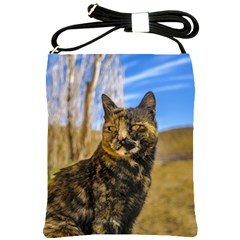 Adult Wild Cat Sitting and Watching Shoulder Sling Bags