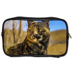 Adult Wild Cat Sitting and Watching Toiletries Bags