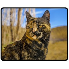 Adult Wild Cat Sitting and Watching Fleece Blanket (Medium)