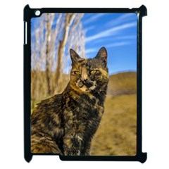 Adult Wild Cat Sitting and Watching Apple iPad 2 Case (Black)