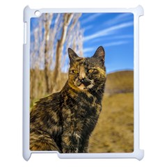 Adult Wild Cat Sitting and Watching Apple iPad 2 Case (White)