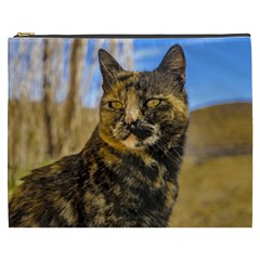 Adult Wild Cat Sitting and Watching Cosmetic Bag (XXXL)