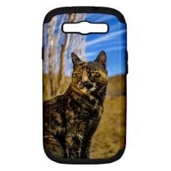 Adult Wild Cat Sitting and Watching Samsung Galaxy S III Hardshell Case (PC+Silicone)