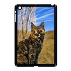 Adult Wild Cat Sitting and Watching Apple iPad Mini Case (Black)
