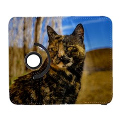 Adult Wild Cat Sitting and Watching Galaxy S3 (Flip/Folio)