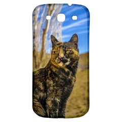 Adult Wild Cat Sitting and Watching Samsung Galaxy S3 S III Classic Hardshell Back Case