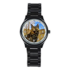 Adult Wild Cat Sitting and Watching Stainless Steel Round Watch