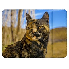 Adult Wild Cat Sitting and Watching Samsung Galaxy Tab 7  P1000 Flip Case