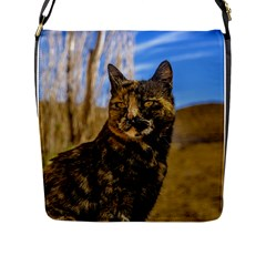 Adult Wild Cat Sitting and Watching Flap Messenger Bag (L)