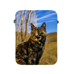 Adult Wild Cat Sitting and Watching Apple iPad 2/3/4 Protective Soft Cases