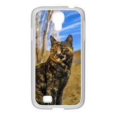 Adult Wild Cat Sitting and Watching Samsung GALAXY S4 I9500/ I9505 Case (White)