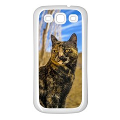 Adult Wild Cat Sitting and Watching Samsung Galaxy S3 Back Case (White)
